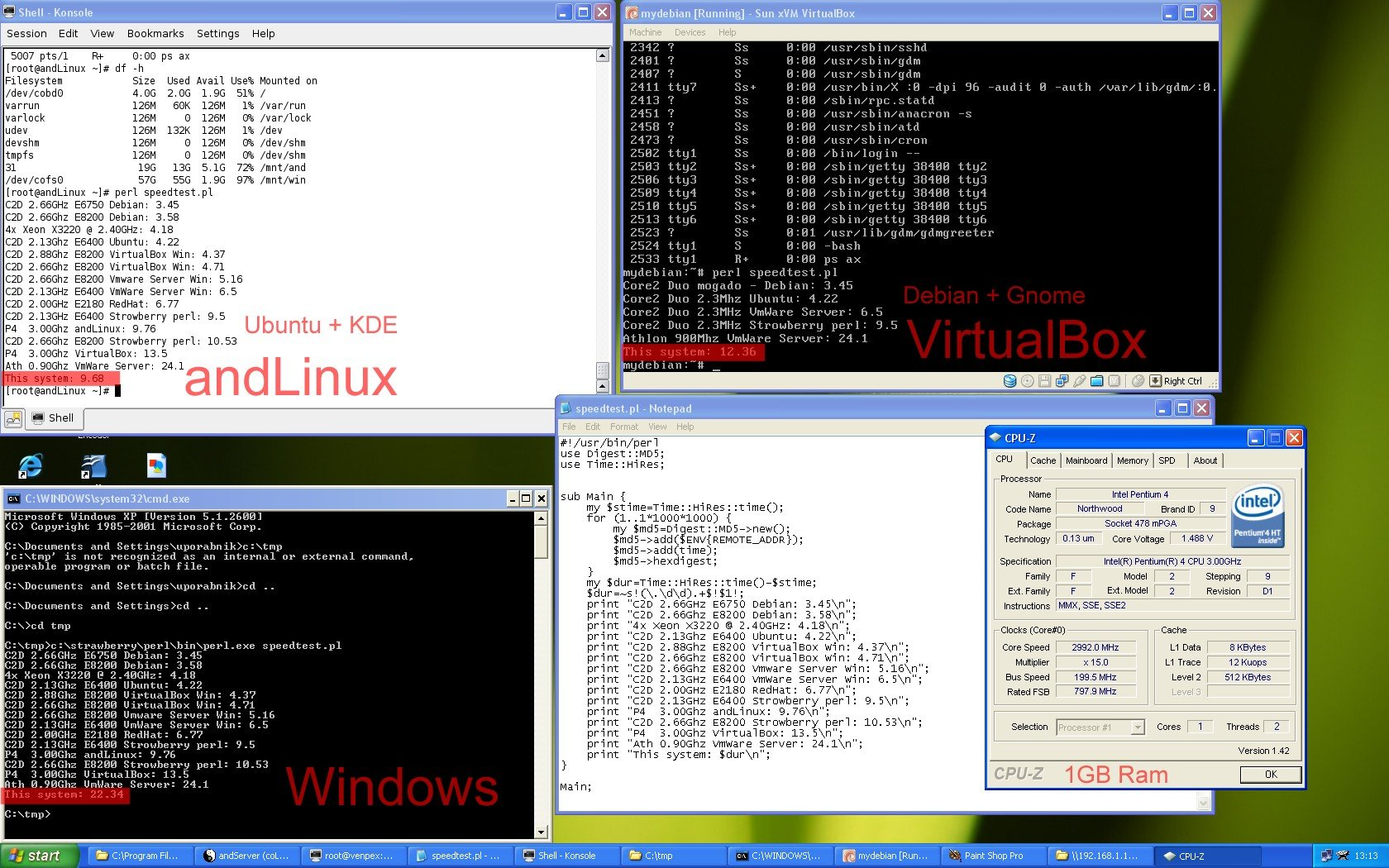 is andlinux faster than virtualbox or than windows native?   Roger's